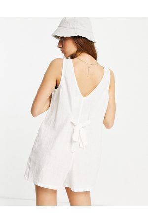 Cotton On Mujer Cortos - Tie back sleeveless playsuit in white