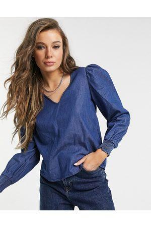 JDY Evelyn long sleeve woven smock top in medium blue denim