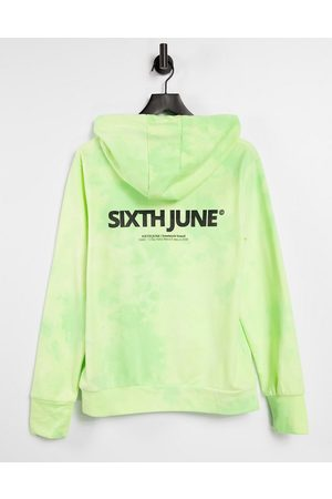 Sixth June Unisex oversized hoodie in lime wash with chest logo co