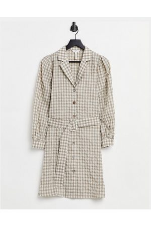 Object Shirt dress with self belt in gingham print
