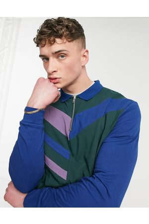ASOS Relaxed long sleeve polo shirt in colour block