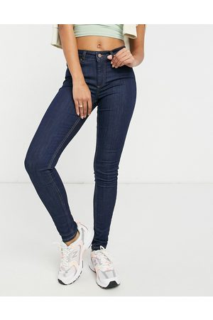 Pieces Delly skinny mid wash skinny jeans in indigo