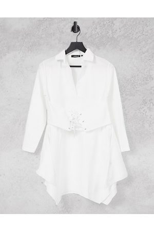 Lasula Shirt dress with corset detail in white