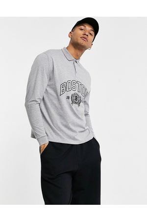 ASOS Relaxed long sleeve polo shirt with Boston city embroidery in grey