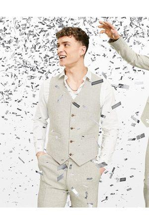 ASOS Wedding super skinny wool mix waistcoat in stone puppytooth