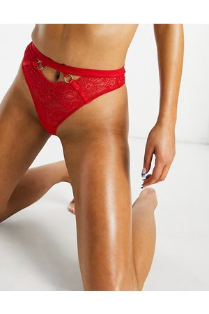 We Are We Wear Mujer Tangas - Eco lace ring detail high waist thong in red