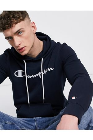 Champion Large script chest logo hoodie in navy