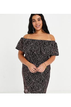 Lovedrobe Lace bardot dress in black and pink