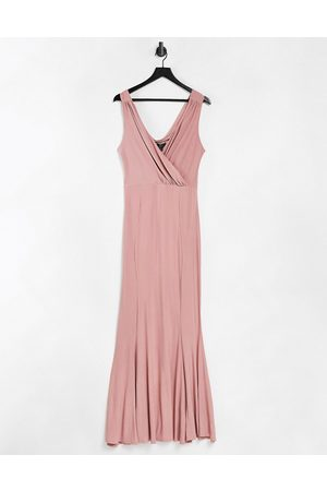 Lipsy London Plunge maxi dress with pink