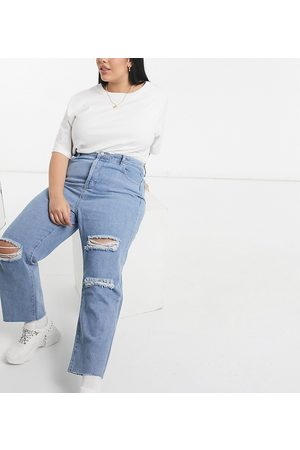 In The Style X Shaughna distressed straight leg jean in washed blue