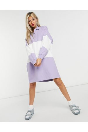 Weekday Margaret mini polo dress in purple