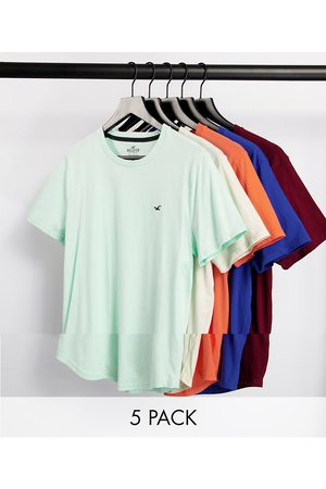 Hollister Hombre Playeras - 5 pack curved hem icon logo t