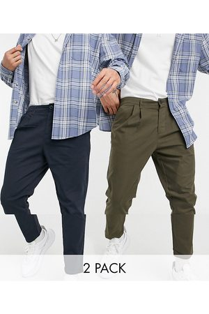 ASOS Hombre Chinos - 2 pack cigarette fit ankle grazer chino trousers in navy and khaki save