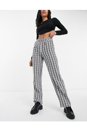 Noisy May Annie lose straight leg trousers in black check print