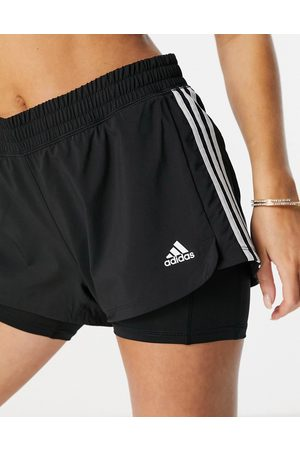 adidas Adidas Training Pacer 2 in 1 stripe shorts in black