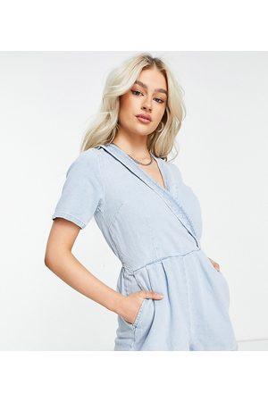 Miss Selfridge Wrap playsuit in blue