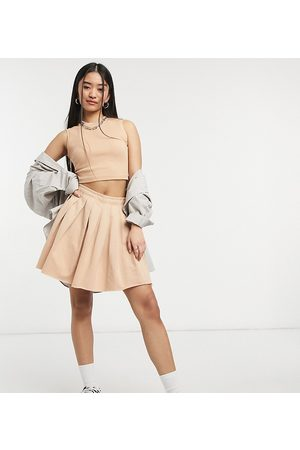 COLLUSION Pleated mini skirt in sand co
