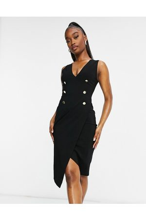 Vesper Tuxedo midi dress in black