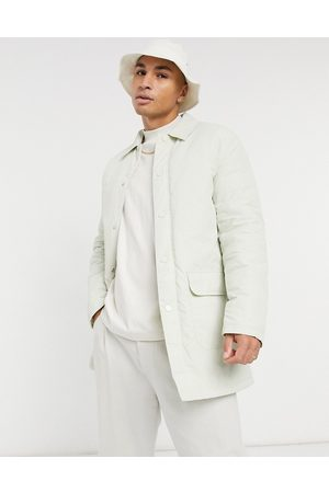 ASOS Padded trench coat with quilted lining in stone