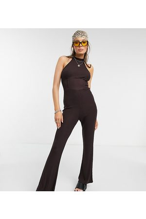 Outrageous Fortune Exclusive high neck flared jumpsuit in rich chocolate