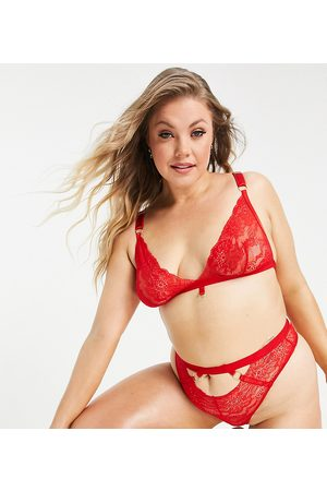 We Are We Wear Curve eco lace ring detail high waist thong in red