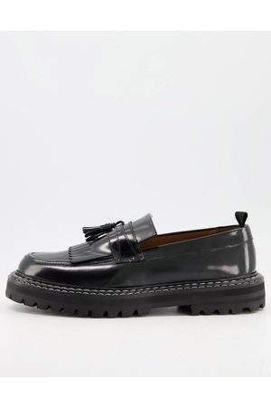 ASOS Loafers in black leather with chunky sole and contrast stitch