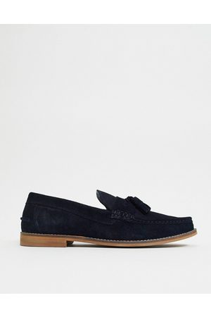 ASOS Hombre Mocasines - Tassel loafers in navy suede with natural sole