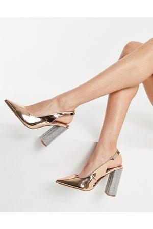 ASOS Mujer Tacones - Parson slingback embellished high block heels in rose gold