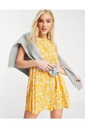 Cotton On Open back mini dress in yellow