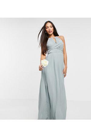 TFNC Mujer Vestidos de noche - Bridesmaid pleated wrap detail maxi dress in sage