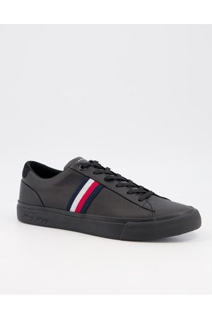 Tommy Hilfiger Hombre Tenis - Corporate leather trainer with side logo in black