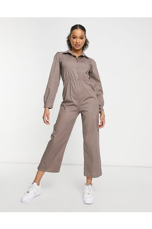 I saw it first Mujer Largos - Puff sleeve wide leg jumpsuit in grey