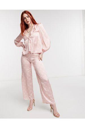 Never Fully Dressed Mujer Leggings y treggings - Wide leg satin trouser co