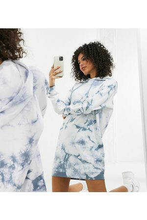 Noisy May Mujer Casuales - Oversized hoodie dress in blue tie dye