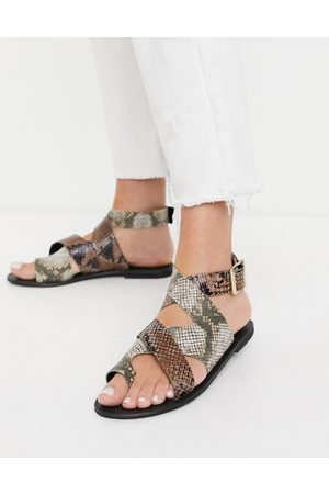 ASOS Fortify leather flat sandals in snake mix