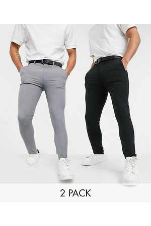 ASOS Hombre Chinos - Super skinny smart trouser multipack in black & grey