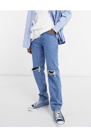 ASOS Original fit jeans in mid wash with knee rips