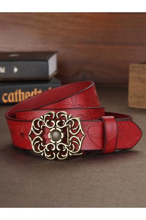 Newchic Mujer Ladies Layer Cinturón Cow Piel Genuina Flower Strap Retro Lotus Hoja Buckle Cinturóns