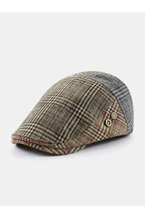 Newchic Hombres Estilo británico Retro Lattice Stripe Patrón Casual Keep Warm Forward Sombrero Boina Sombrero