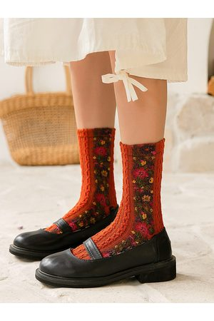 Newchic Mujer calcetines In The Tube Warm National Wind Print calcetines Paquete de 5 pares One