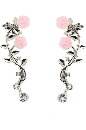 Newchic Elegante Pink Flower Womens Cuff Earrings Moda Silver Gold Color Piercing Clip Earrings