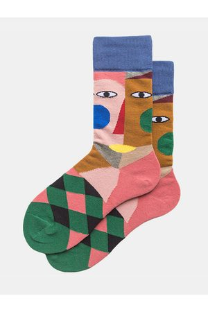 Newchic Hombre Calcetines - Pareja Otoño e invierno calcetines Color Art Tide Abstract Clown Fashion Street calcetines