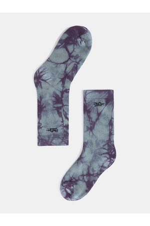 Newchic Tide Brand Abstract tie Dye Embroidery High Tube Medias calcetines