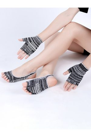 Newchic Mujer Guantes - Mujer Algodón Yoga Set Dew Heel Sports Five Finger Yoga calcetines Guantes Professional Antideslizante