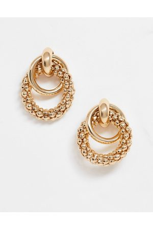 ASOS Earrings in linked sleek and textured circles in gold tone