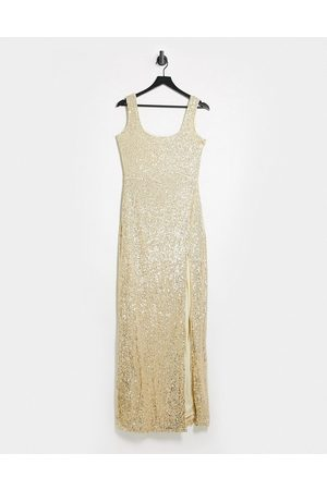 Club L Sequin maxi dress with thigh split in light gold