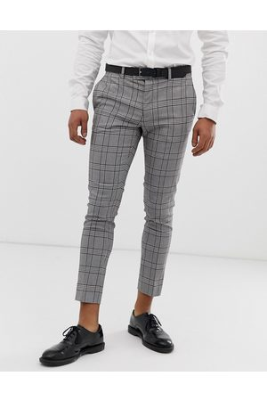 River Island Super skinny cropped smart trousers in grey check
