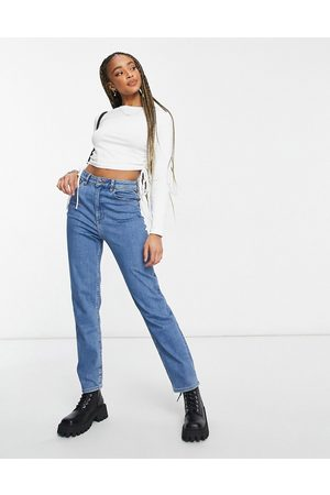 ASOS High rise farleigh 'slim' mom jeans in midwash