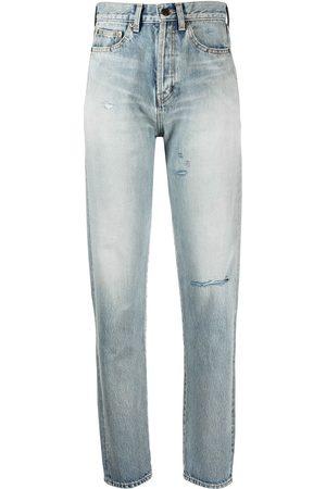 Saint Laurent Jeans rasgados con tiro alto