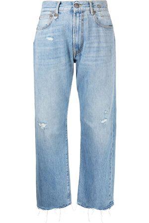 R13 Jeans capri con efecto envejecido